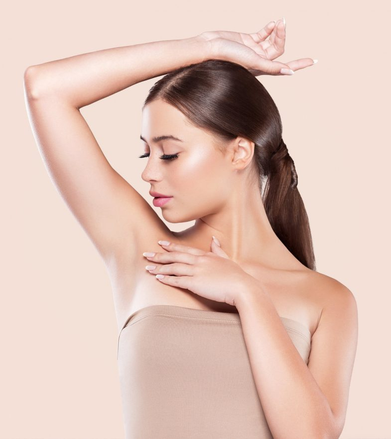 Armpit woman healthy skin depilation concept woman hand up